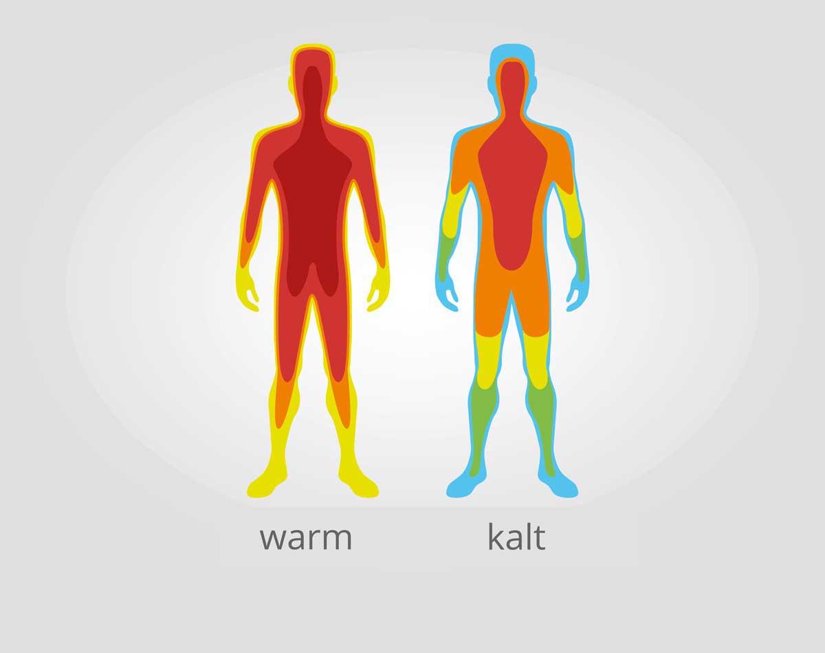 Die normale Körpertemperatur des Menschen